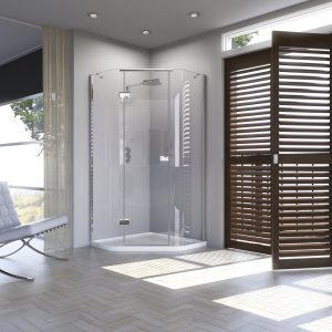 Matki Illusion Quintesse Shower Enclosure with Integrated panel and Glass Guard with Soft Return Handle – 900mm x 900mm – LH