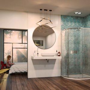 Matki-One Curved Corner Shower Enclosure with Glass Guard & Black finish – 1200mm x 900mm – RH