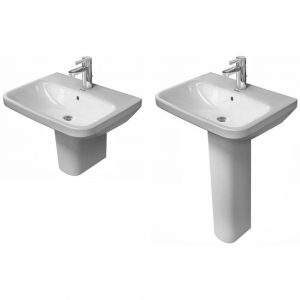 Duravit  Basin With Full Pedestal  – 600mm Wide – White – 3 Tap Holes – Wondergliss