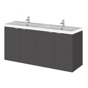 Hudson Reed Fusion Wall Hung Vanity Unit With Double Basin – 1200mm  – Gloss Grey
