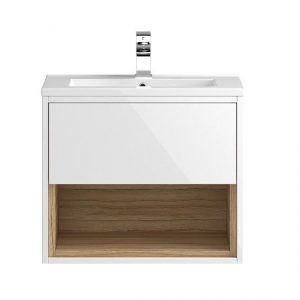 Hudson Reed Coast 1Drawer Wall Hung Vanity Unit And Basin  600mm X 518mm  White