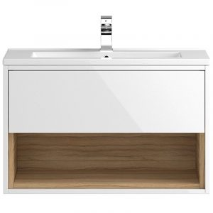 Hudson Reed Coast 1Drawer Wall Hung Vanity Unit And Basin  800mm X 518mm  1Tap Holes White