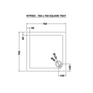 Hudson Reed Square Shower Tray 760mm X 760mm – White