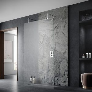 Hudson Reed Wetroom Screen with Arms and Feet   900mm Wide  8mm  Clear