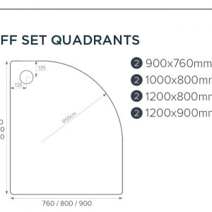 Just Tray Jtfusion Offset Quadrant Shower Tray with Waste – 1000mm X 800mm – Left Handed – Matt White
