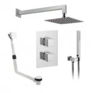 Vado DX Mix2 Thermostatic Dual Concealed Mixer Shower with Shower Kit and Bath Filler + Fixed Head – Chrome
