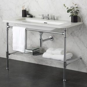 Victoria Albert Metallo Washstand With Rossendale under counter Basin with metal rail shelf – 1125mm wide – 1 TH – Polished chrome/Black