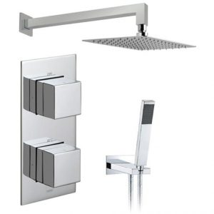 Vado Tablet Notion Vertical Thermostatic Valve With Head And Shower Kit Chrome