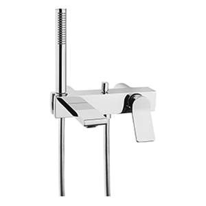 Vitra Memoria Wall Mounted Bath Shower Mixer Tap with hose and handset, Including Valve Body – Chrome
