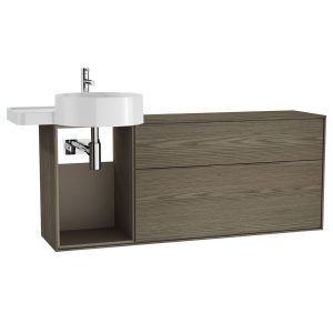 Vitra Voyage 2 Drawer Vanity Unit with Left Side Basin and Shelves – 1300mm Wide – Planked Sand/Taupe