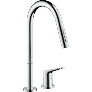 Hansgrohe Axor Citterio 2-Hole Single Lever Kitchen Mixer Tap With Pull-Out Eco Spray – Stainless Steel