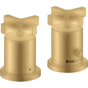 Hansgrohe Axor Citterio 2-Hole Thermostatic Cross Handles Bath Mixer Tap – Brushed Gold Optic