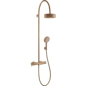 Hansgrohe Axor Citterio Shower pipe With Thermostatic Mixer And 1Jet Overhead Shower – Brushed Red Gold